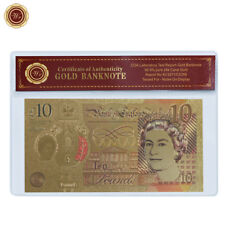 WR 24K New Polymer £10 Ten Pound Gold Foil Banknote 2017 Chirstmas Gifts Limited
