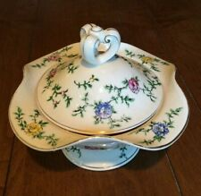 Vintage Dresden Style Japanese Porcelain 3-Part Divided Candy Nut Dish