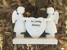 "Angels & Heart ""In Loving Memory"" Flower Memorial Statue Garden Stone Figurine"