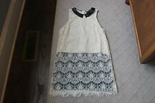 ASTR Ivory Black Lace Coctail Dress Size Large Sleeveless Fauz Leather Collar