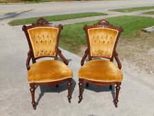Pair Walnut Victorian Side Chairs Gold Fabric