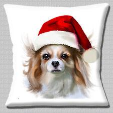 "CUTE WHITE CREAM BEIGE PAPILLON PUPPY WEARING SANTA HAT 16"" Pillow Cushion Cover"