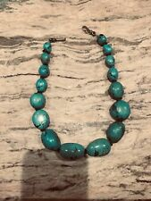 "Attractive turquoise 19"" necklace with sterling silver hook"