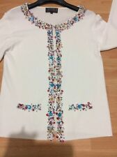 Casamia White Sequin Beaded Cardigan S 12 14 Christmas Party Cruise
