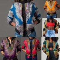 Fashion Women Ladies Long Sleeve African Print Dashiki Short Coat Jacket Outwear