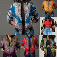 Women Ladies Long Sleeve African Print Dashiki Short Casual Coat Jacket Outwear