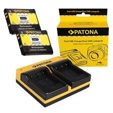 2x Batteria Patona + caricabatteria USB dual per Nikon Coolpix S7000,W100