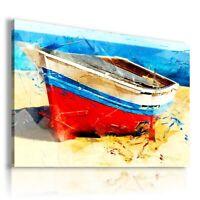 PAINTING DRAWING BOATS BEACH SAND OCEAN SEA PRINT Canvas Wall Art R168 UNFRAMED