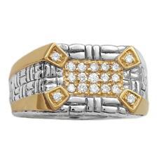 Philip Andre 18K Gold & Sterling Silver Men's Diamond Ring, size 10.5