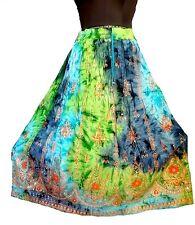 Boho TieDye Hippy Bollywood Indian Long Belly Dance Skirt Vintage Tribal Peasant