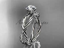 Creative Infinity Rings, Rope Engagement Ring, 14kt White Gold Bridal Ring
