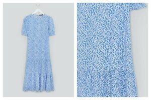 BNWT Short Sleeve Blue Ditsy Midi Dress Matalan size 14 16 18  (AR)