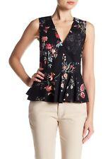 Sale NWT $250 Rebecca Taylor Meadow Black Floral Peplum Blouse 917908T243 sz 0