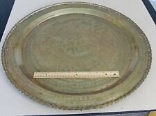"24"" Large Round Brass Wall Plaque Hand Etched Animals & Flowers"