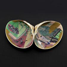 Pair Vintage Japanese KAIAWASE MATCHING GAME  Seashells Hand Painted / Print