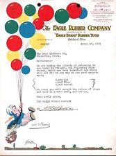 Eagle Rubber Co Balloons Toys Ashland Ohio 1938 Fantastic Letterhead  history