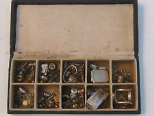 BOX OF VINTAGE UNSEARCHED WATCH PARTS: CROWNS, PINS AND MORE