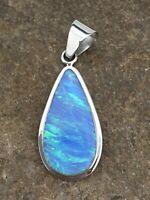 "Mens Native Navajo Sterling Silver Blue OPAL Pendant 1.75"" 1112"