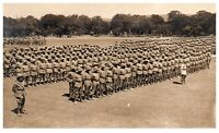 Postcard WW1 Large Group Soldiers on Parade Pith Helmets Tropical Army RPPC 15a
