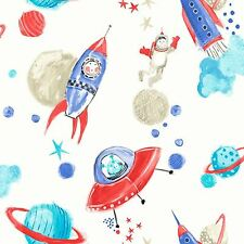 STARSHIP GLITTER WALLPAPER - WHITE - ARTHOUSE 668001 SPACE ROCKETS