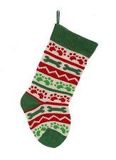 Dog Knit Christmas Stocking Paw Prints Bones New Green