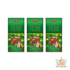 3x GOLD NUSS German Quality Chocolate Bar with Whole Hazelnuts 100g 3.5oz