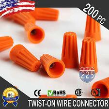 (200) Orange Twist-On Wire GARD Connector Conical nuts 22-14 Gauge Barrel Screw