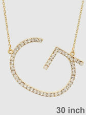 Initial Necklace Long Chain Rhinestone Large Sideways Letter G Personalized GOLD