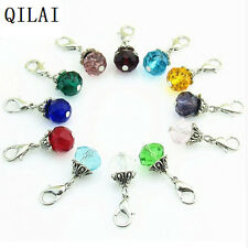 120pcs/lot mix crystal birthstone danlge charms bead pendant for floating locket