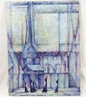 Mackay Vintage 26x34 Oil Painting Abstract Blue Cubist Church Monks Priests