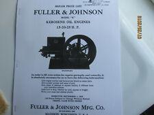 1919 Fuller Amp Johnson 15 25hp Kerosene Engine Parts Manual Oil Engine
