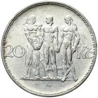 Tschechoslowakei - Münze - 20 Korun 1933 - Männergruppe - Silber