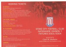 Fixture List - Stoke City 2003/4