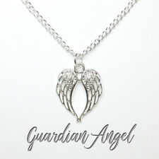 UK 925 Silver plated angel wing necklace guardian angel bereavement loss memory