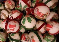 Vtg 49 Glitter Ball Christmas Tree Ornaments  Styrofoam Santas & holiday scenes