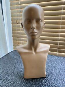 Display Head Manequin Face Head Neck Hat Jewelery Skin Tone Plastic