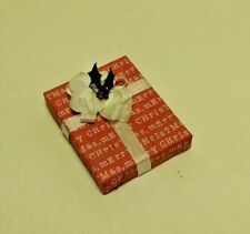Dollhouse Miniature Handcrafted Christmas Holiday Gift Package Red & White 1:12