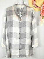 WORKSHOP Women's 2X Fall Black White Plaid Button Down Shirt Top Blouse NWT