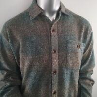 True Grit Men's Melange Blanket Solid Plaid One Pocket Big Shirt Aqua Size XLT