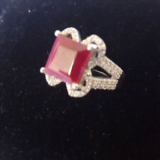 Ruby 925 Fine Solid Sterling Silver Ring with White Topaz Size 8 Genuine Stone