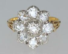 Antique 1.6ct Old Cut Diamond 18ct Gold & Plat Cluster Ring Edwardian/ Victorian
