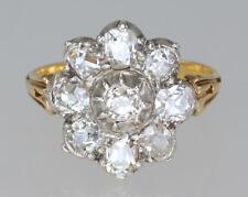 Antico VECCHIO 1.6ct Diamante Taglio 18ct GOLD & PLAT Cluster Anello Edoardiano/Vittoriano