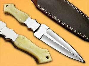 Custom Handmade Stainless Steel Hunting Dagger Knife Bone Handle
