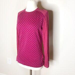 SmartWool Merino Base Layer Long Sleeve Large Pink Orange Wool Top Tee