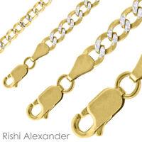 14k Gold over Sterling Silver Pave Diamond Cut Curb Cuban Mens Necklace Bracelet