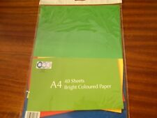 1 PACK OF  40 SHEETS OF A4 COLOURED PAPER 80 GSM 4 DIFFERENT COLOURS PER PACK