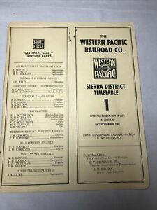 1970 WESTERN PACIFIC RAILROAD PUBLIC TIMETABLE 1 Gold Country Reno Jct Comstock