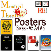 MUSICAL THEATRE POSTERS * A3 / A4 SIZE Wall Art Prints Home Decor A5 / A4 / A3
