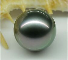 HUGE Perfect 14mm AAA tahitian genuine black loose pearl undrilled