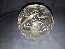 Vintage Hand Cut Clear Glass Vase. Foreign. Leaf Pattern.